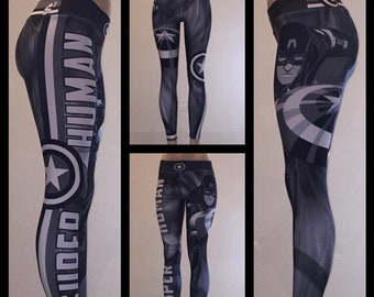 335a059a03bc98 Captain America Unisex Leggings, Tights Yoga, Gym, Workout, Athletic,  Avengers, Superhero, Cool