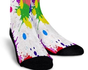or knee high socks novelty streetwear comfortable fashionable trendy crew Paint Splatter anklet