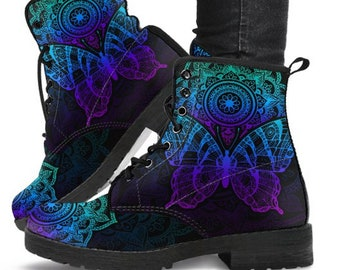 Blue Metallic Effect Women/'s Boots Combat Boots Vegan Leather Casual Boots Cowgirl Boots. Custom Boots Womens Fashion Bohemian Boots