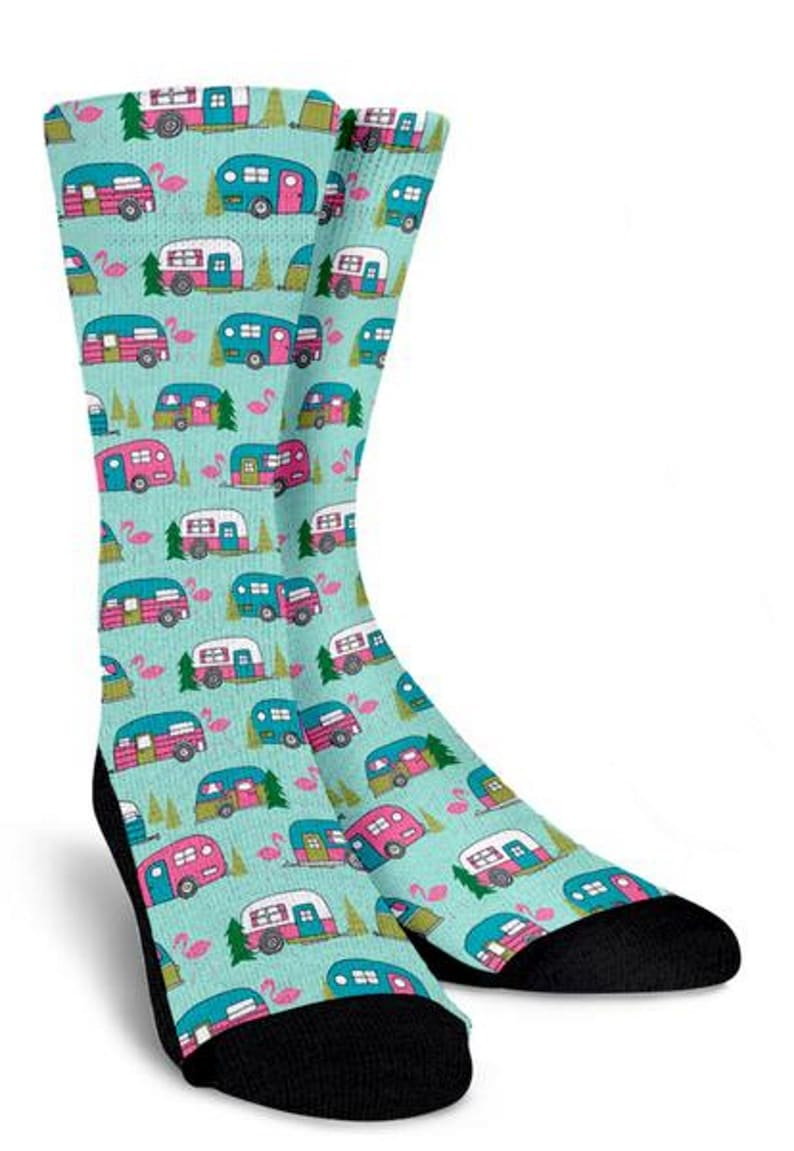 Happy Camper, Personalized Socks , Crew Socks, Gift Socks, Custom Printed  Socks, Funny Socks, Boot Socks, Mens Socks,Womens Socks, Socks