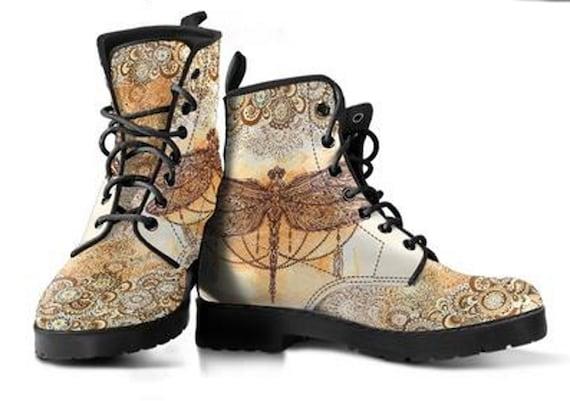 Libellule Paisley fabriqués à la main en cuir bottes., bottes., bottes., végétaliens, Nature Design bottes. 6bb0fd