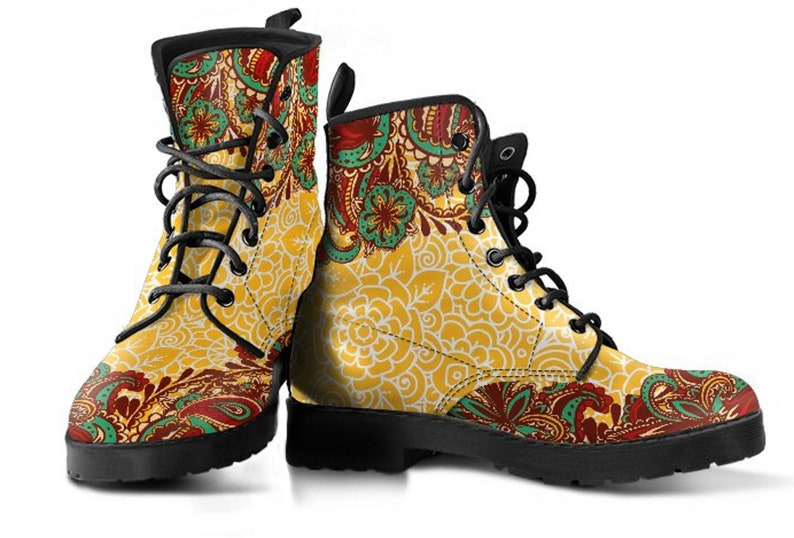 Combat Boots Casual Boots Womens  Fashion Bohemian Boots Cowgirl Boots Custom Boots Vegan  Leather Brown Henna Mandala Women/'s Boots