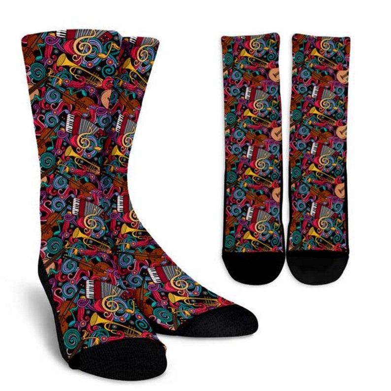 Cool Socks Mens Sock Socks Gift Socks Womens Socks Boot Socks Crew Socks Custom Printed Socks Personalized Socks Instrument United