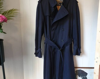 b649a52ef Vintage navy burberry trench with nova check lining