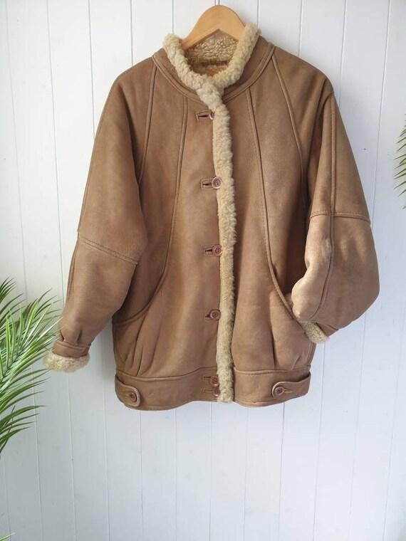 Vintage jacket, retro sheepskin flying jacket, 80s