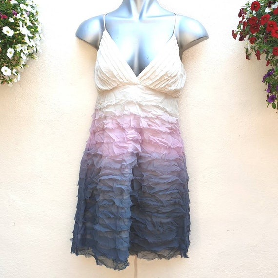Vintage Lipsy silk cocktail dress flapper style with layered feathery tiers in a dip dye effect