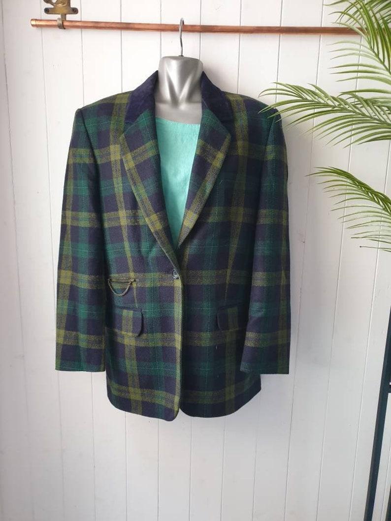 Vintage jacket vintage blazer Bianca vintage wool blazer checked jacket 90s vintage blazer
