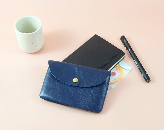 Pouch - wallet Sligo blue leather - lined in fabric