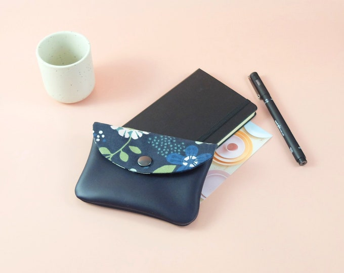 Midnight blue leather clutch - purse Sligo - lined in fabric