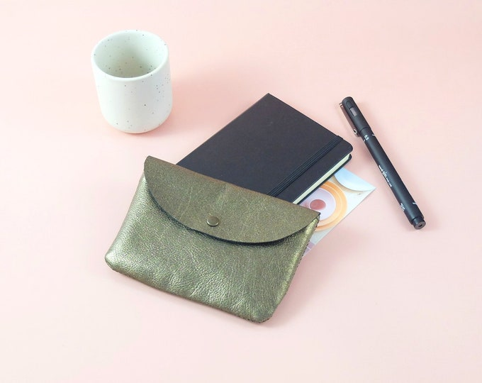 Pouch - wallet Sligo gold leather - lined in fabric