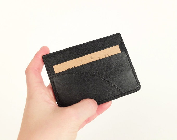 Black leather - Eden Prairie - 3 compartments card holder