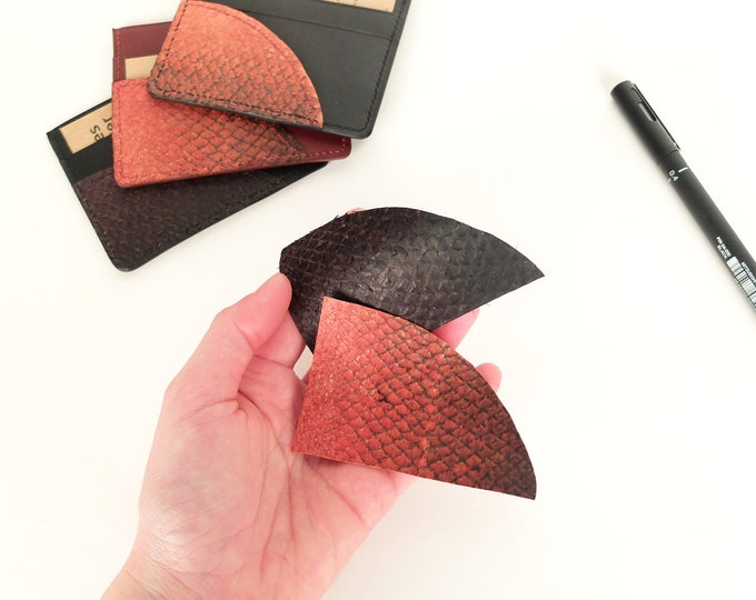 Card holder - two-material cowhide and salmon - Eden Prairie - 3 compartments