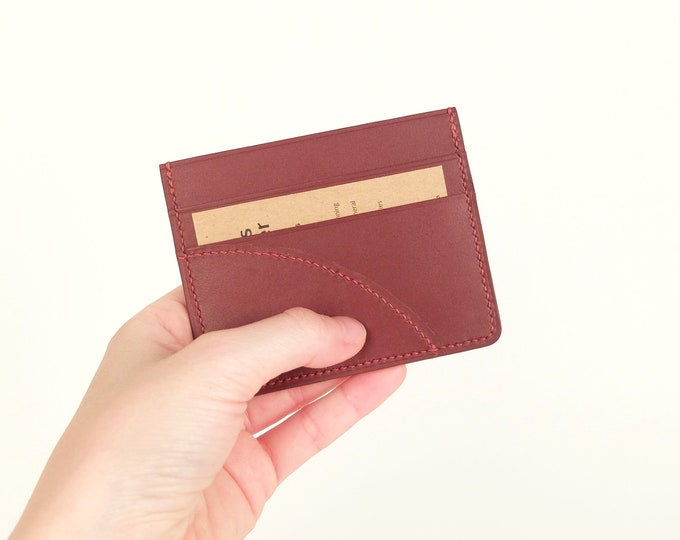 Burgundy leather - Eden Prairie - 3 compartments card holder