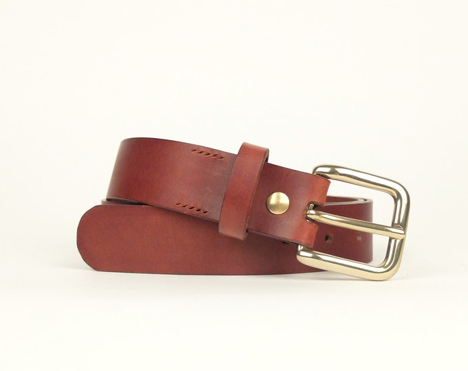 Rome belt-brown colour with gilded brass buckle
