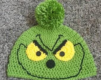 cd863f542ccca Grinch crochet hat