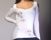 hearts and flowers long sleeve cold shoulder, women, teens, original design and graphic, sexy, fun