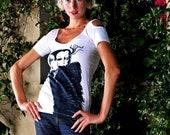 short sleeve cold shoulder, man and woman, cotton spandex, striking design, women, teens, original design and graphic