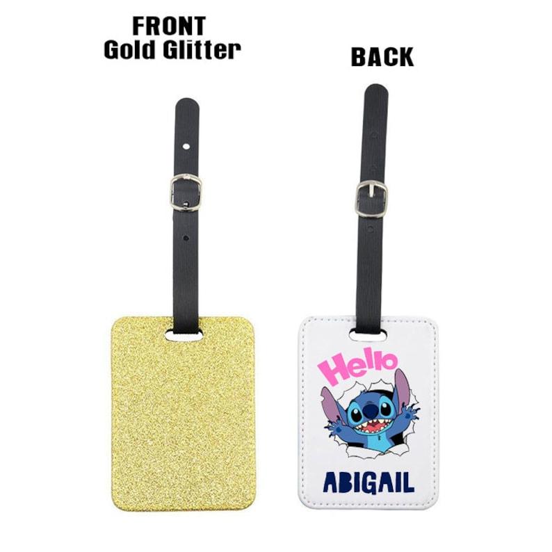 Personalised Hello Ohana themed ANY NAME Glitter Rectangle Travel Luggage Tag Christmas Holiday Gift Idea.