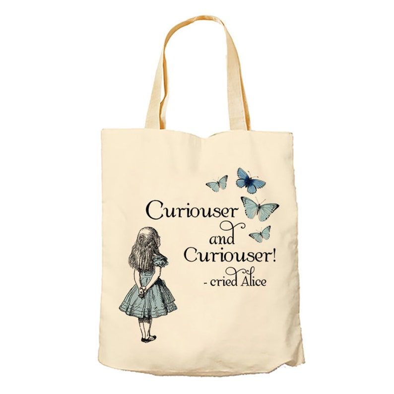 Alice In Wonderland Curiouser And Curiouser Themed Tote Bag Cotton Shopping Bag.