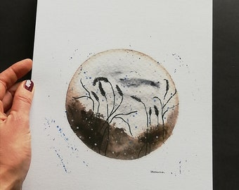 """Illustration """"ZEN circle with story 1"""", watercolor tehnique, quality print, limited edition, beautyfull nature motif, nature"""