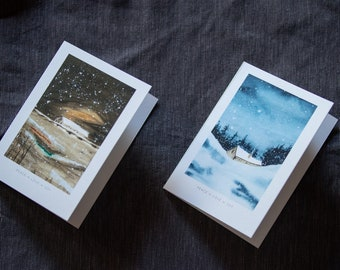 Pack of 2 Winter Scene Card, Christmas Tree Card, Holiday Card, snowy Greeting cards, Cards with envelopes, Stationery, gifts, bulk cards