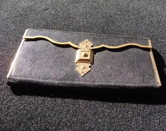 Antique American Arts /& Crafts heavy sterling silver billfold money clip with mixed metals