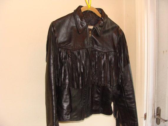 Vintage Ladies Leather Biker Fringed Leather Jacke