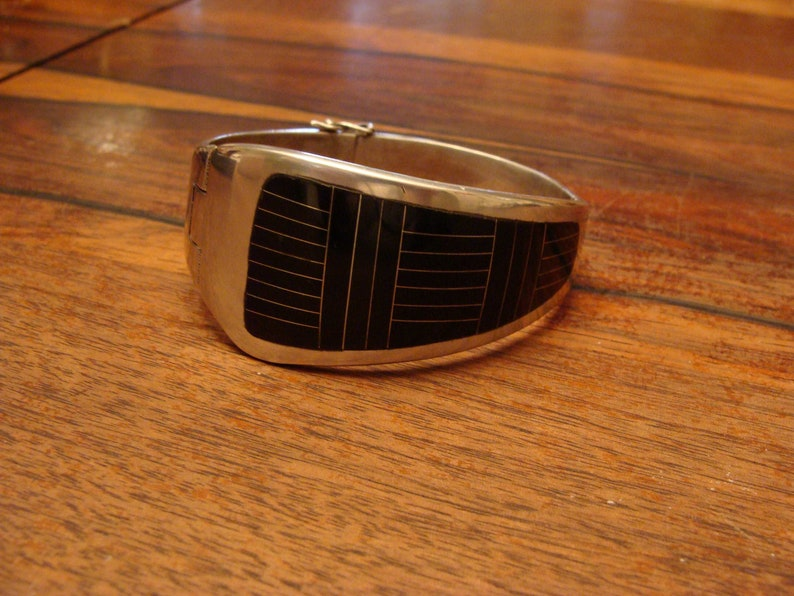 Modernist Sterling Silver Bracelet Double Hinged Top Quality Taxco Mexico 85 grams