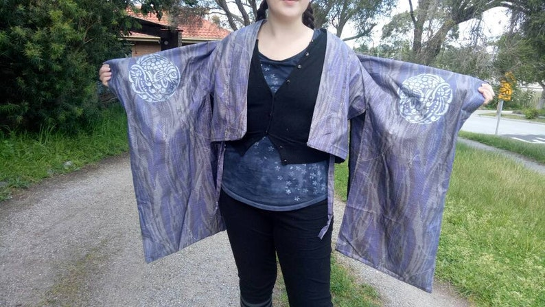 Dark Blue Silk Fish in a River  Kimono Haori Furisode Jacket in Vintage Fabric Padded Hanten Option! Perfect Condition