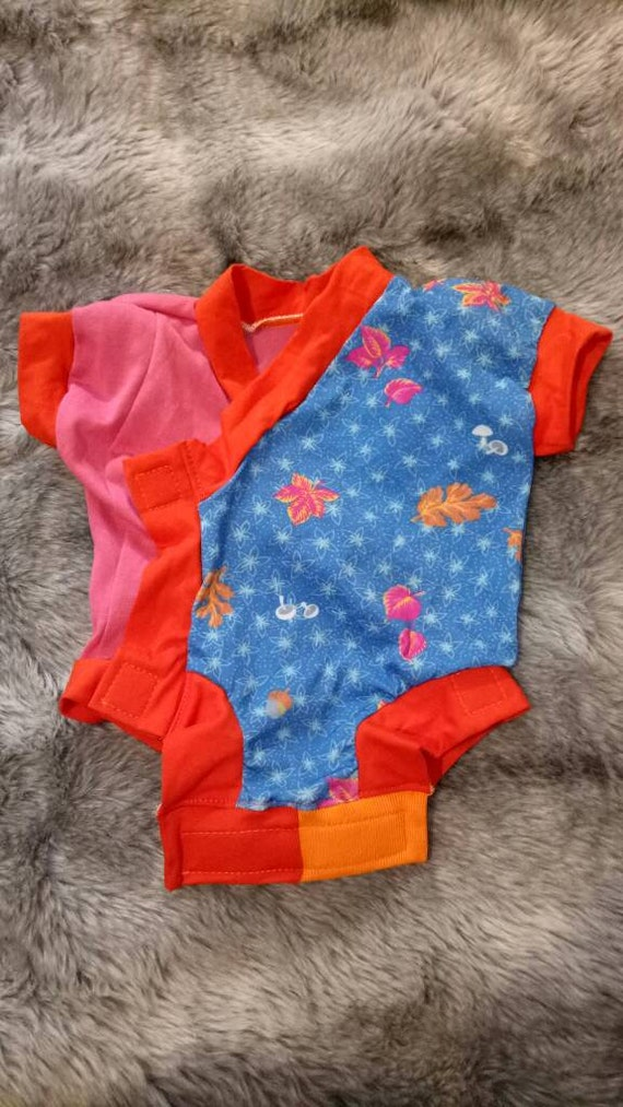 Orange and Blue with Velcro Closures Pink Baby Kimono Suit Leaves and Mushrooms Pattern