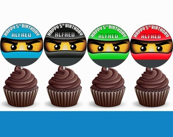 Ninjago Cupcake Toppers Birthday Printable 12HRS Turnaround Time