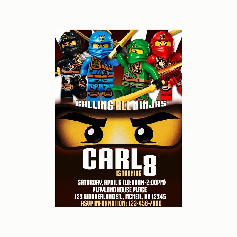 Ninjago Birthday Invitation Card Printable 12HRS Turnaround Time