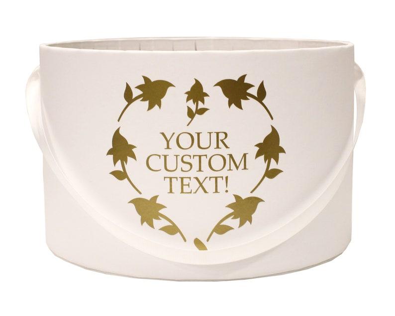 6 styles available Gift Box Personal Custom Logo Text Round White Gold Luxury Flower Box Wedding decor 3 sizes