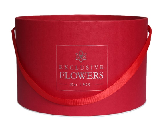 Gift Box Round White Gold Luxury Flower Box Wedding decor Handmade in Europe 3 sizes 4 available colors ExclusiveFlowers