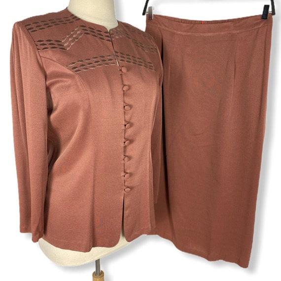 Exposition Women Rust 2 Pc Skirt Suit Vintage Size
