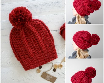 Large Pom Beanie, Chunky Beanie, Chunky Knit Hat, Slouchy Hat, Slouchy Beanie, Oversized, Winter Hats, Hand Knit Hat, Red Hat, Gift for Her