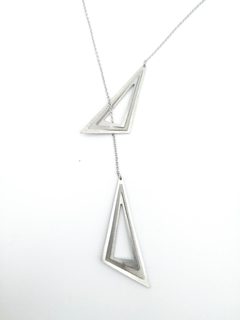 Geometric lariat necklace with no claspr Shining hypoallergenic pendant Stainless steel Triangles necklace Y necklace