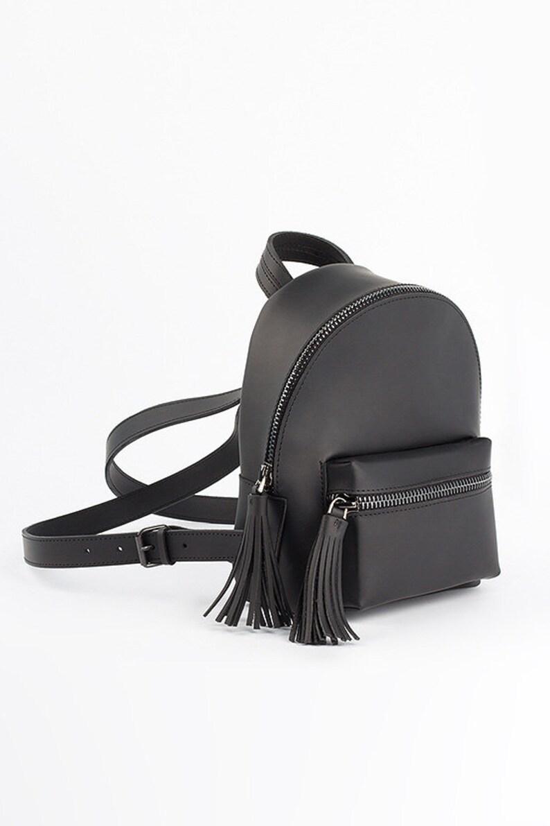 Black Zipper bag Handmade backpack Pouch Laptop backpack Shoulder bag Leather bag Bridesmaid gift Mom gift Mothers day gift Wedding gift