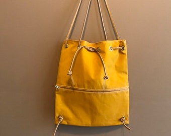 4529be672 Waxed Canvas Drawstring Bag, Shoulder Bag Backpack Tote Bag yellow