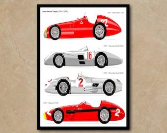 e7345ab5fcb Juan Manuel Fangio Maestro Race Driver Alfa Romeo Mercedes-Benz Maserati  Ferrari Car Formula One F1 Sport POSTER Decor Wall Art