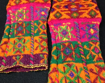 HEARTFULL SALE Handknit wool socks from Yugoslavia, 1967, Collectible Textile, Orange patterned colorful vintage