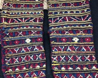 HEARTFULL SALE    Gold Threaded  Decorative Handknit Socks from Skopje Gypsy Market, Yugoslavia 1967, Vintage Textiles, Collectible