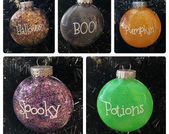 Halloween Ornament, Halloween Glittered Ornament set of 5, Halloween Ornament for Tree, Halloween Rae Dun Inspired Ornament, Halloween Decor