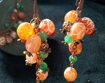 Jade /& Agate Bracelet Earrings from Agate Krakle and jade Jewelry set of Mismatch Earrings Asymmetric and bracelet