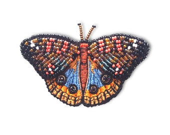 e402b47064766 Peacock butterfly embroidered brooch design, insect machine embroidery,  summer butterfly embroidery pattern download
