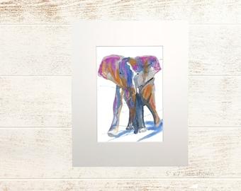 "BecksFineArt Matted Fine Art Print of ""Gentle Giant"" an Original Design Elephant Home Decor Wall Art Illustration Watercolor"