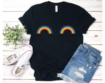 bbbd0a2280 Gay Rainbow Boobs Shirt, Pride Shirt, Gay Pride T-Shirt, LGBT Shirt,  Lesbian Shirt, Love Wins Shirt, Love is Love