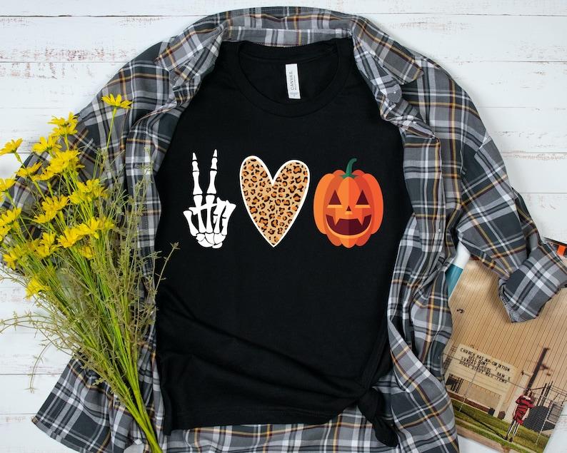 Peace Love Pumpkin Shirt Peace Love Halloween Shirt Funny image 0