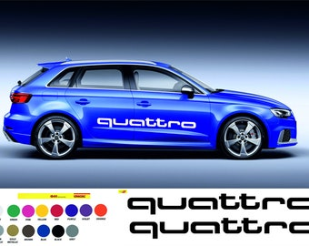 "Quattro Decals Audi A4 S4 A3 S3 Car Window Door Bumper Sticker 8/"" Long Pair of 2"