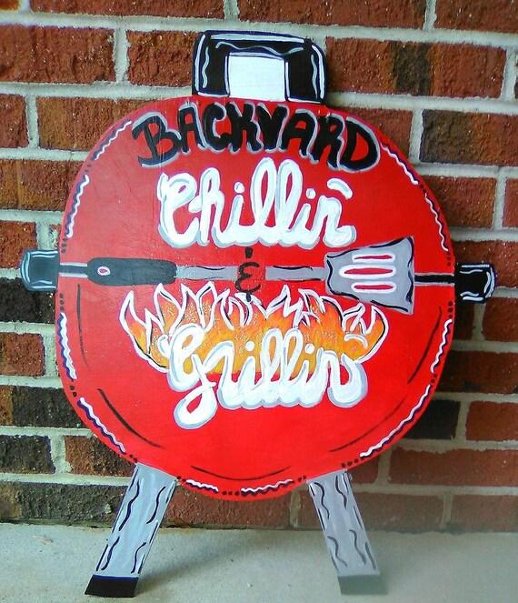 Backyard Grillin/' Door Hanger